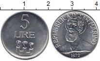 Изображение Монеты Сан-Марино 5 лир 1972 Алюминий UNC-