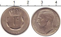Изображение Дешевые монеты Европа Люксембург 1 франк 1968 Медно-никель XF