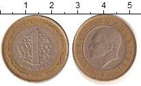 Изображение Дешевые монеты Турция 1 лира 2009 Биметалл XF