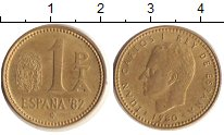 Изображение Дешевые монеты Испания 1 песета 1980 Бронза  Король Хуан Карлос I