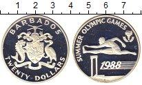 Изображение Монеты Северная Америка Барбадос 20 долларов 1988 Серебро Proof-
