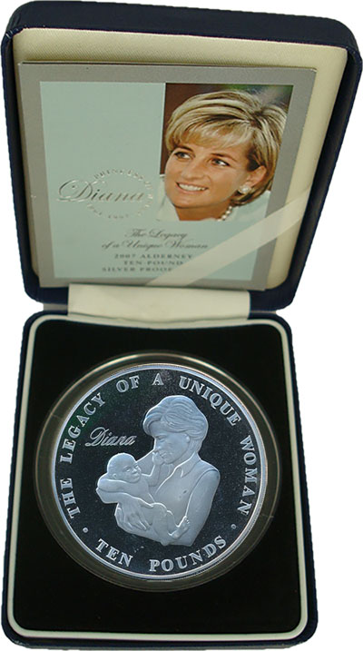 Изображение Подарочные монеты Великобритания Олдерни 10 фунтов 2007 Серебро Proof-