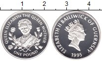 Изображение Мелочь Гернси 1 фунт 1995 Серебро Proof-