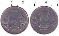 Изображение Дешевые монеты Индия 2 рупии 2011 Алюминий XF
