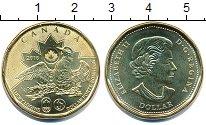 Изображение Мелочь Канада 1 доллар 2016 Латунь UNC Елизавета II. Чернок