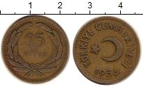 Изображение Монеты Турция 25 куруш 1956 Латунь VF