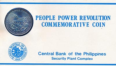 Изображение Подарочные монеты Азия Филиппины Жёлтая революция 1988 Никель UNC