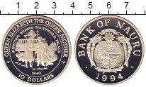 Изображение Монеты Науру 10 долларов 1994 Серебро Proof Королева Мать.