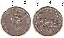 Изображение Монеты Азия Индия 1/2 рупии 1947 Медно-никель XF