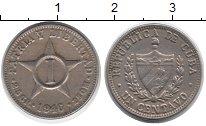 Изображение Монеты Куба 1 сентаво 1946 Медно-никель VF номинал в центре зве