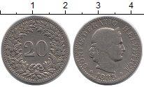 Изображение Монеты Швейцария 20 рапп 1885 Медно-никель VF