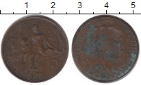 Изображение Монеты Франция 5 сентим 1912 Медь VF Свобода.  Равенство.