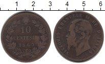 Изображение Монеты Европа Италия 10 сентесим 1863 Бронза VF