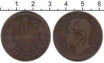 Изображение Монеты Италия 10 сентесим 1867 Бронза VF Витторио Имануил II