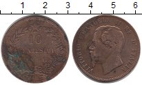 Изображение Монеты Италия 10 сентесим 1866 Бронза VF Витторио Имануил II