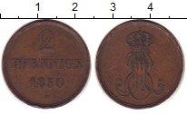 Изображение Монеты Германия Ганновер 2 пфеннига 1850 Медь VF