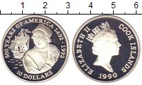 Изображение Монеты Острова Кука 10 долларов 1990 Серебро Proof Елизавета II.  500 -