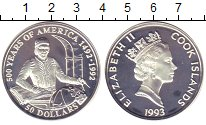 Изображение Монеты Острова Кука 50 долларов 1993 Серебро Proof-