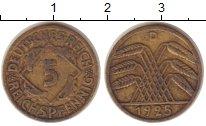 Изображение Монеты Веймарская республика 5 пфеннигов 1925 Латунь XF D