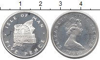 Изображение Монеты Великобритания Остров Мэн 5 пенсов 1977 Серебро Proof-