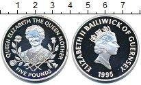 Изображение Монеты Гернси 5 фунтов 1995 Серебро Proof Елизавета II.  Корол