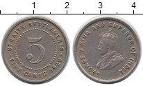Изображение Монеты Стрейтс-Сеттльмент 5 центов 1920 Медно-никель XF Георг V.