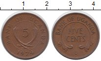 Изображение Мелочь Африка Уганда 5 центов 1974 Медь XF