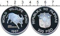 Изображение Монеты Филиппины 200 песо 1987 Серебро Proof- Защитим  дикую  прир