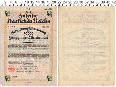 Изображение Банкноты Третий Рейх 50000 марок 1935  VF 4 1/2 % Облигация