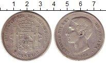 Изображение Монеты Испания 5 песет 1875 Серебро VF Альфонсо XII