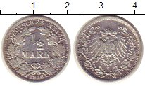 Изображение Монеты Европа Германия 1/2 марки 1916 Серебро XF