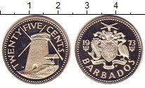 Изображение Монеты Барбадос 25 центов 1973 Медно-никель Proof- Мельница.
