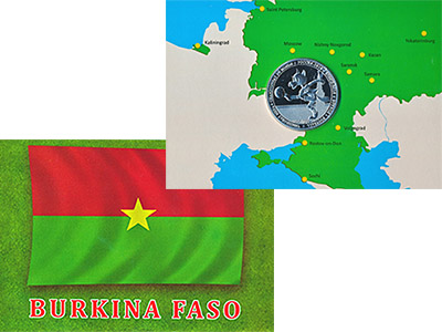 Изображение Подарочные монеты Африка Буркина Фасо Россия`2018,Чемпионат мира по футболу 2017 Посеребрение Proof
