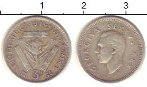 Изображение Монеты ЮАР 3 пенса 1948 Серебро XF Георг VI.