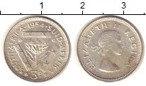 Изображение Монеты Африка ЮАР 3 пенса 1954 Серебро XF