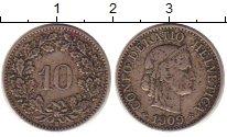 Изображение Монеты Европа Швейцария 10 рапп 1909 Медно-никель XF