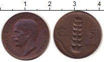 Изображение Монеты Европа Италия 5 сентим 1929 Бронза XF
