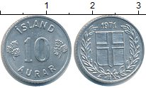 Изображение Монеты Исландия 10 аурар 1971 Алюминий XF
