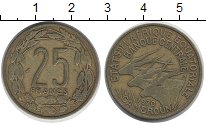 Изображение Монеты Камерун 25 франков 1970 Латунь XF Антилопы.
