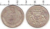 Изображение Монеты Европа Латвия 2 лата 1925 Серебро XF-