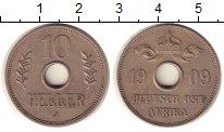 Изображение Монеты Немецкая Африка 10 хеллеров 1909 Медно-никель XF+