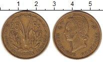 Изображение Монеты Французская Африка 25 франков 1956 Латунь XF Антилопа  Канна.