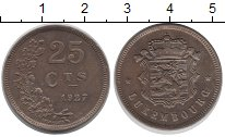 Изображение Монеты Европа Люксембург 25 сентим 1927 Медно-никель XF