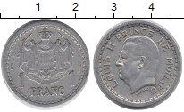 Изображение Монеты Монако 1 франк 1945 Латунь VF Принц  Монако  Луи I