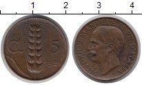 Изображение Монеты Европа Италия 5 сентим 1921 Медь XF