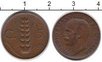 Изображение Монеты Италия 5 сентесим 1925 Медь XF