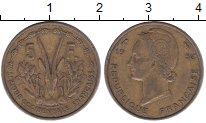 Изображение Монеты Французская Африка 5 франков 1956 Латунь VF антилопа