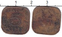 Изображение Монеты Цейлон 5 центов 1944 Латунь VF Георг VI