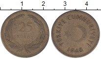 Изображение Монеты Азия Турция 25 куруш 1948 Латунь VF
