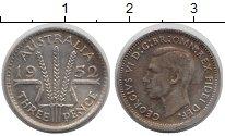 Изображение Монеты Австралия 3 пенса 1952 Серебро XF три колоса - Георг V